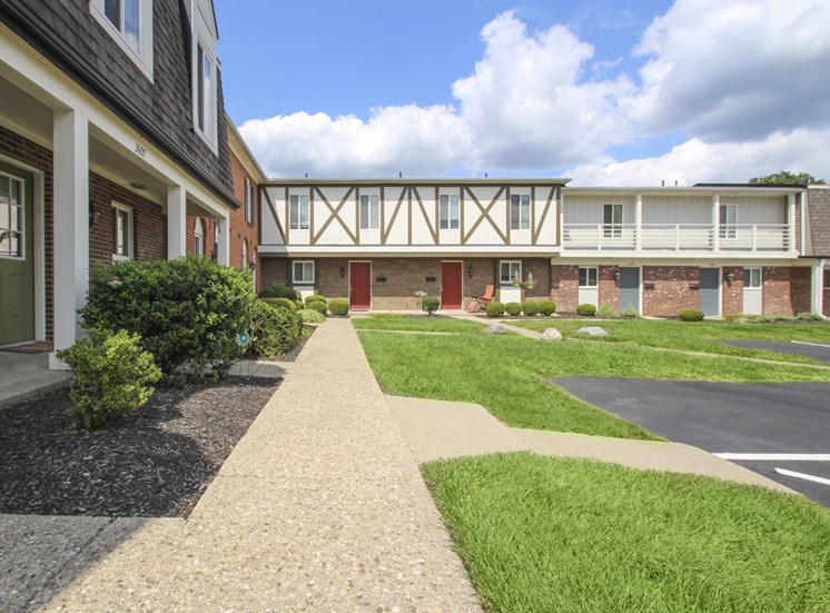 This is a photo of building exteriors at Village East Apartments in Franklin, OH.