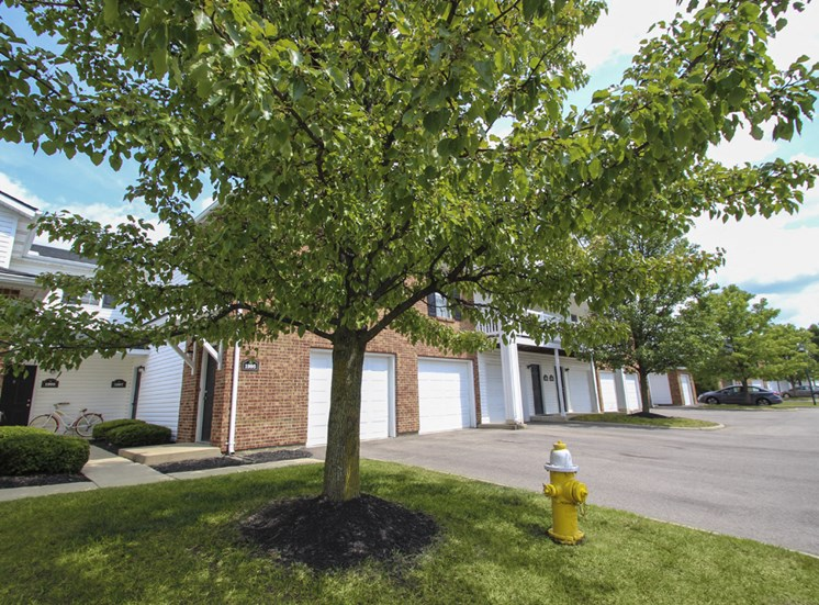 This is a photo of some apartment entrances and garages at Washington Place Apartments in Washington Township, OH