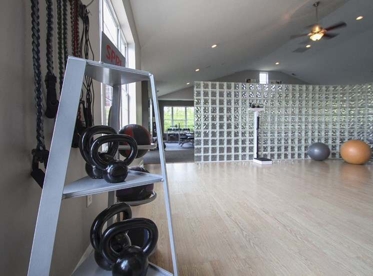 This is a photo of the 24-hour fitness center at Place Apartments in Washington Township, OH