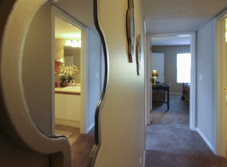 This is a photo of looking down the hallway of the 890 square foot 2 bedroom Liberty at Washington Place Apartments in Centerville, OH.