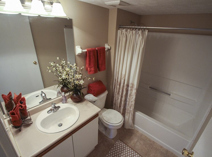 This is a photo of the  bathroom of the 890 square foot 2 bedroom Liberty at Washington Place Apartments in Centerville, OH.