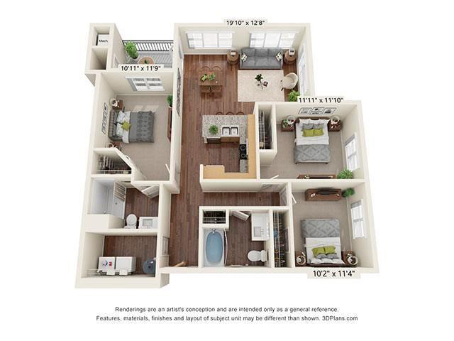 Scharbauer Flats_3 Bedroom Floor Plan_C1