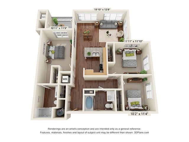 Scharbauer Flats_3 Bedroom Floor Plan_C1-ADA