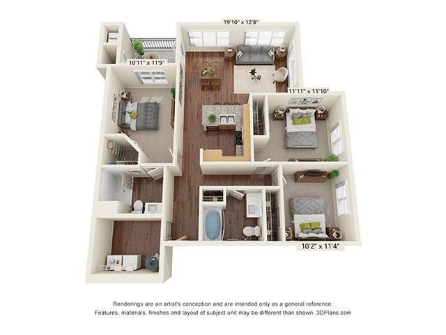 Scharbauer Flats_3 Bedroom Floor Plan_C2