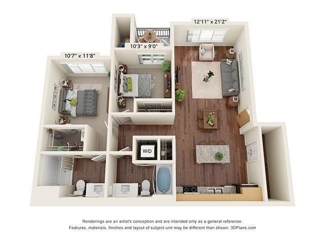 Scharbauer Flats_2 Bedroom Floor Plan_D2