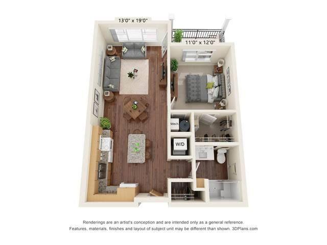 Stonepointe_1 Bedroom Floor Plan_A1