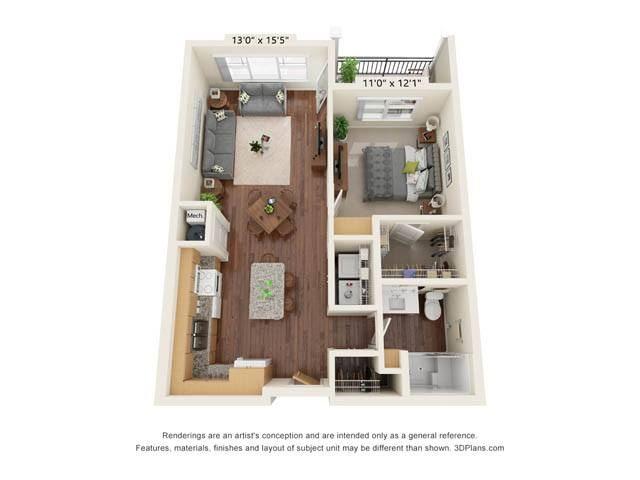 Stonepointe_1 Bedroom Floor Plan_A2