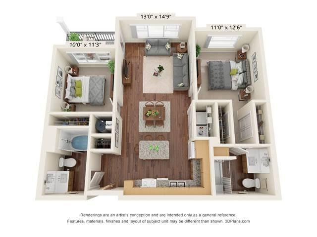 Stonepointe_2 Bedroom Floor Plan_B1