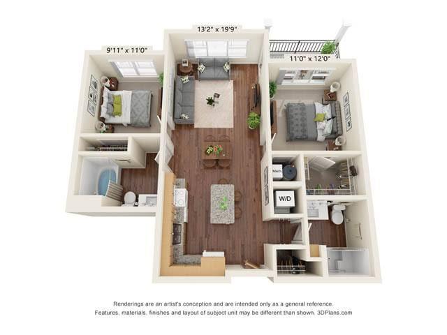 Stonepointe_2 Bedroom Floor Plan_B8