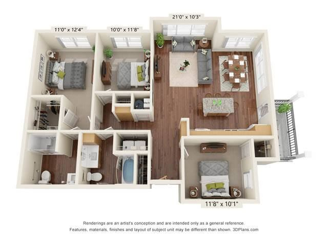 Stonepointe_3 Bedroom Floor Plan_C1-ADA