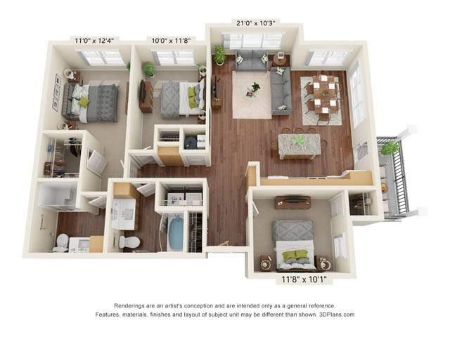 Stonepointe_3 Bedroom Floor Plan_C1