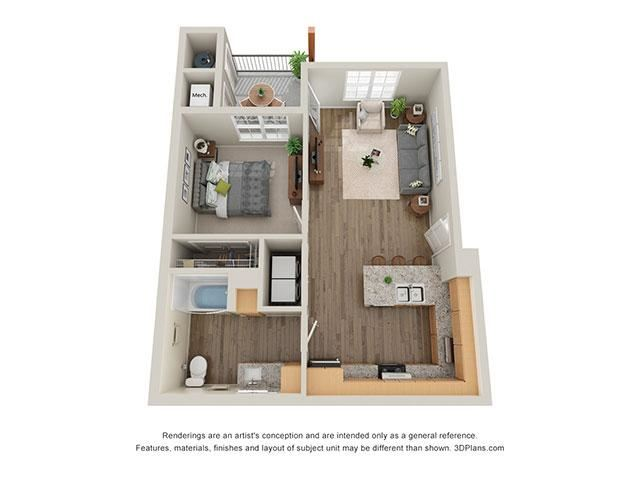 Timbers at Hickory Tree 1 Bedroom Floor Plan_1A
