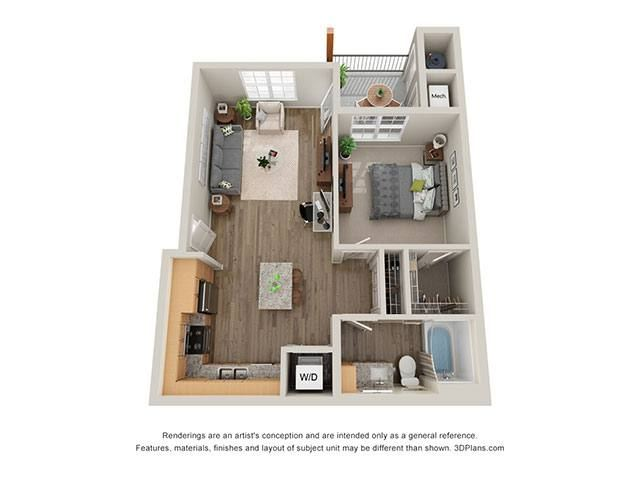 Timbers at Hickory Tree 1 Bedroom Floor Plan
