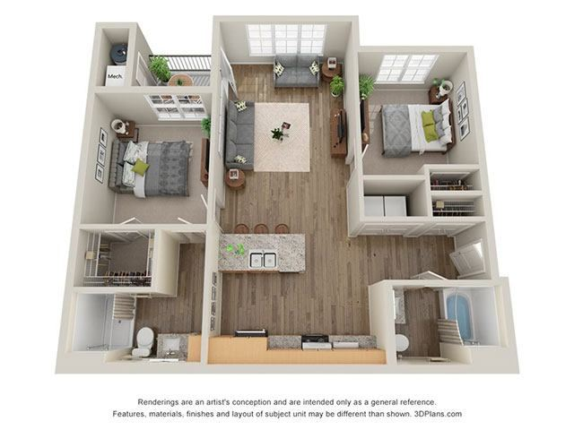 Timbers at Hickory Tree 2 Bedroom Floor Plan