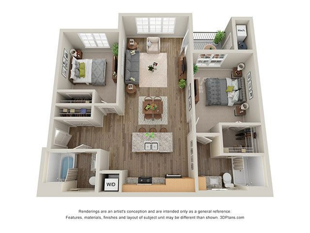 Timbers at Hickory Tree 2 Bedroom Floor Plan_2B