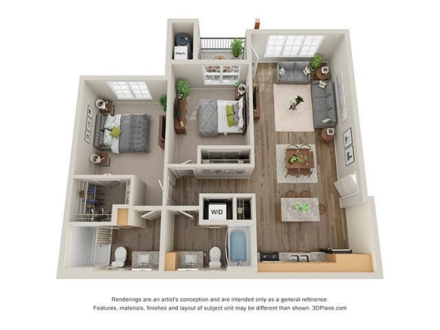 Timbers at Hickory Tree 2 Bedroom Floor Plan_2C