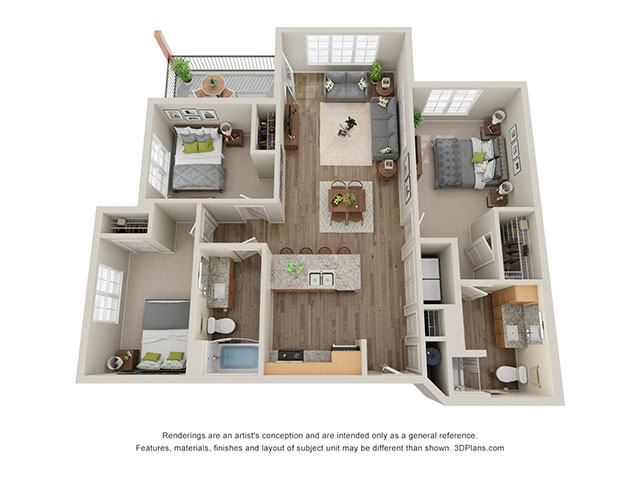 Timbers at Hickory Tree 3 Bedroom Floor Plan_3A