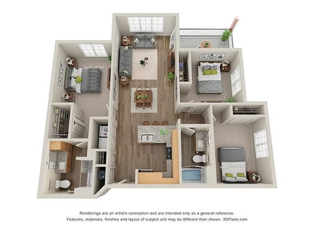Timbers at Hickory Tree 3 Bedroom Floor Plan_3B