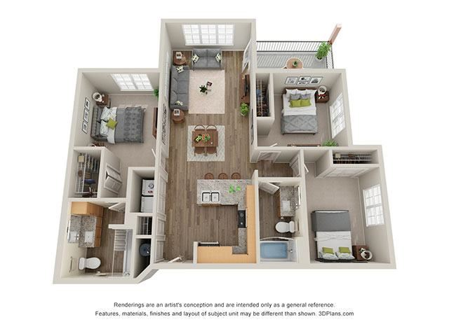 Timbers at Hickory Tree 3 Bedroom Floor Plan
