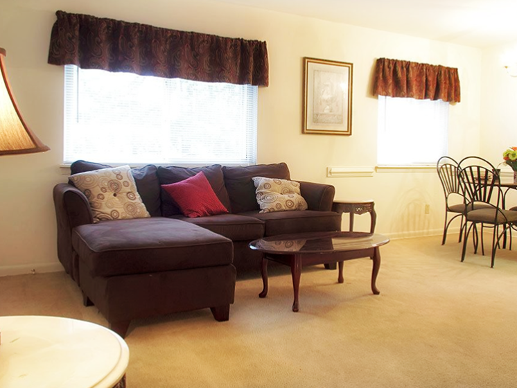 Living room at Autumn Lakes Apartments in Newport News VA
