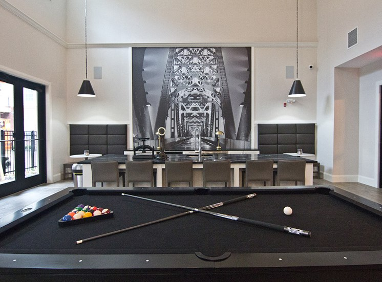 Pool table at The Baxter Apartments in Louisville KY