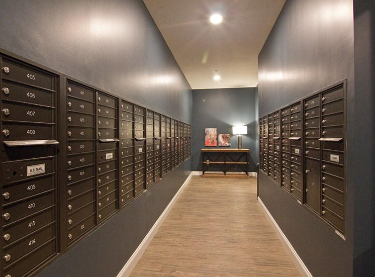 Mail room at The Baxter Apartments in Louisville KY