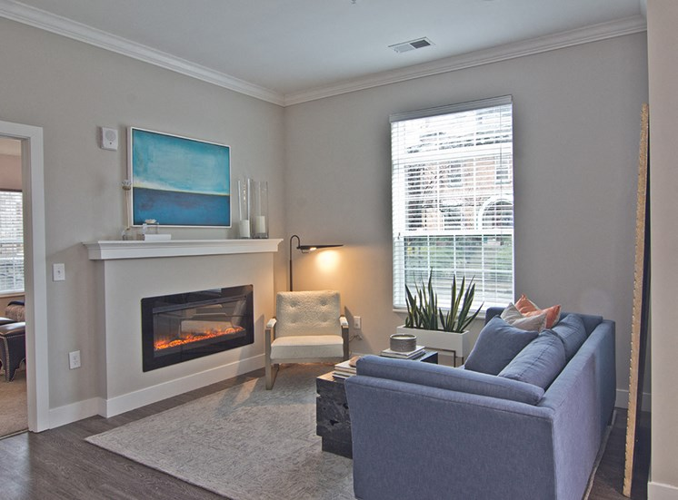 Fireplace at luxury apartments in downtown Louisville KY