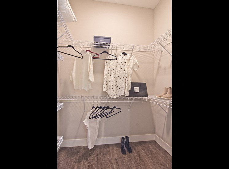 closet at luxury apartments in downtown Louisville
