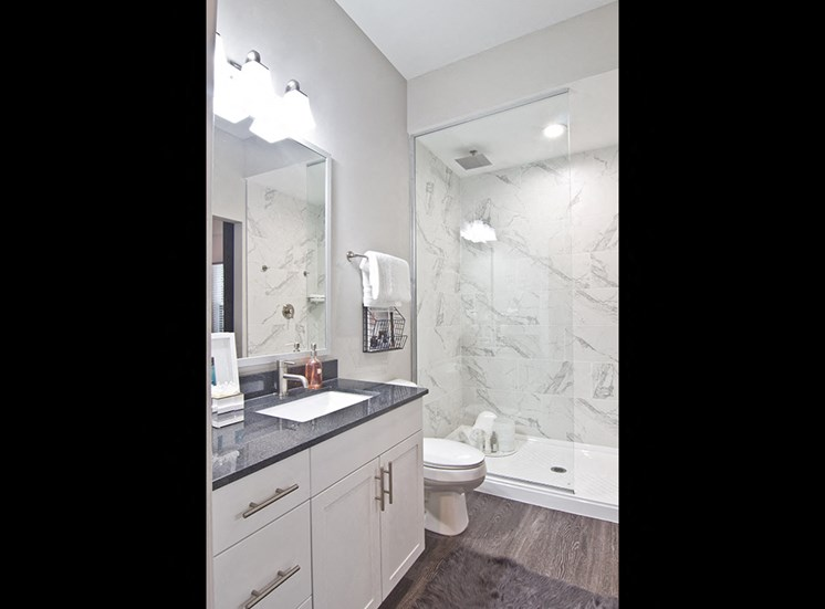 Bathroom at The Baxter Apartments in downtown Louisville KY