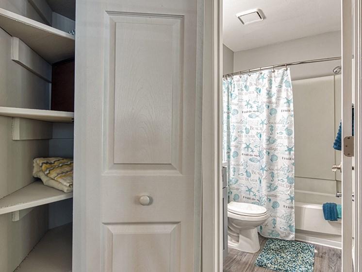 Linen closet at luxury apartments in Newport News VA