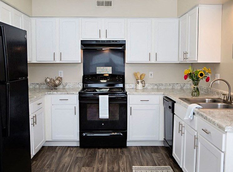 Renovated Kitchen with black appliances
