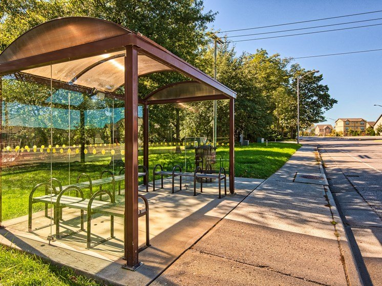 Bus stop at Smith's Landing Apartments