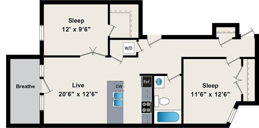 Two Bedroom Floor Plan at the Belmont by Reside FLATS