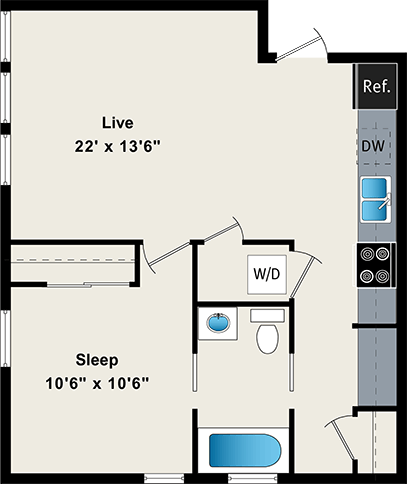 One Bedroom Floor Plan at the Belmont by Reside FLATS