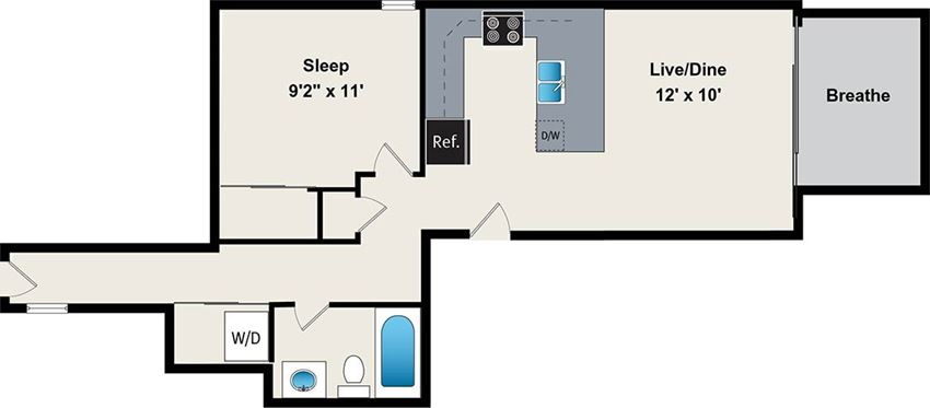 1 Bedroom floor plan at the belmont by reside flats