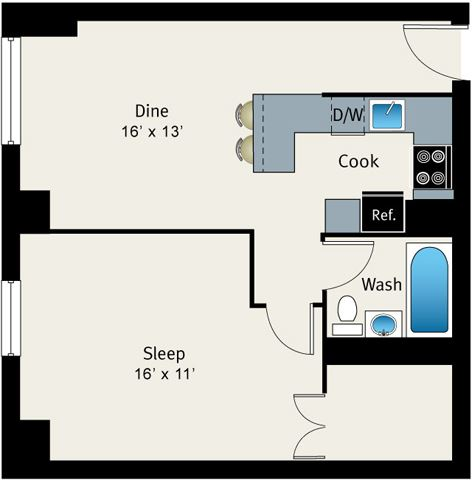 1 Bed 1 Bath Floor plan at The Belmont by Reside Apartments, 60657-4830, IL