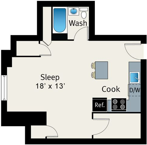 1 Bed 1 Bath Floor plan at The Belmont by Reside Apartments, Chicago, Illinois