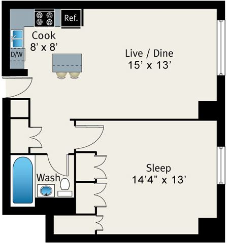 1 Bed 1 Bath Floor plan at The Belmont by Reside Apartments, Illinois, 60657-4830