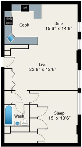 1 Bed 1 Bath Floorplan at The Belmont by Reside Apartments, Chicago, Illinois