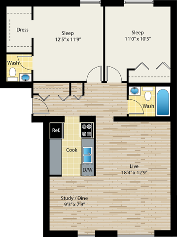 two-bedroom floor plan at reside on morse