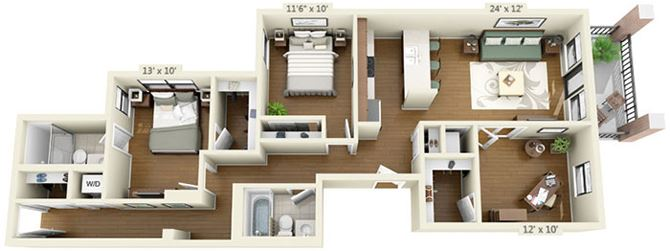 floor plan at the Belmont by Reside Flats
