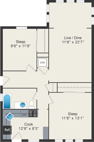 2 bedroom floor plan at 5425 N Clark Apartments
