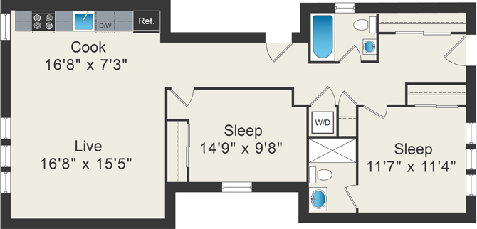 1 bedroom floor plan at 5425 N Clark Apartments