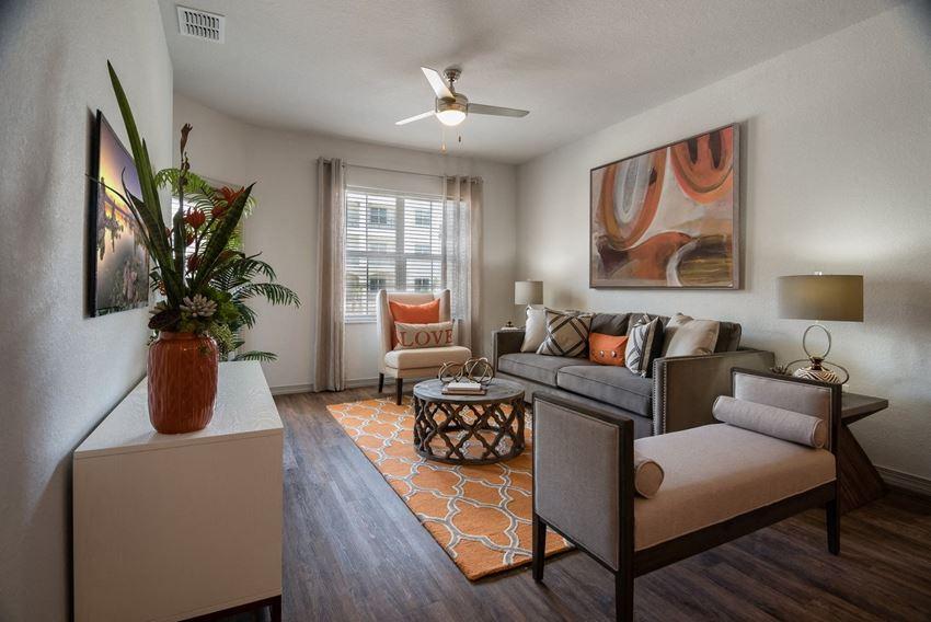 Living Room with Designer wood-finish vinyl plank flooring