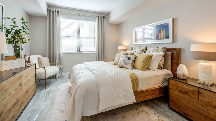 Bedroom with Wood Style Ceramic Flooring
