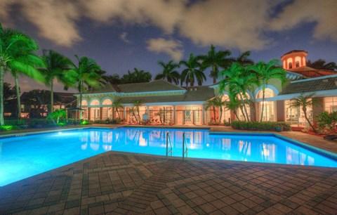 Nighttime Pool View