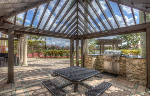 Outdoor Grille and Seating with Gazebo