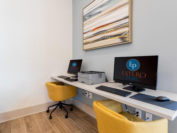 Convienient Business Center with wifo lounge in clubhouse, at Estero Parc, Estero, FL, 33928