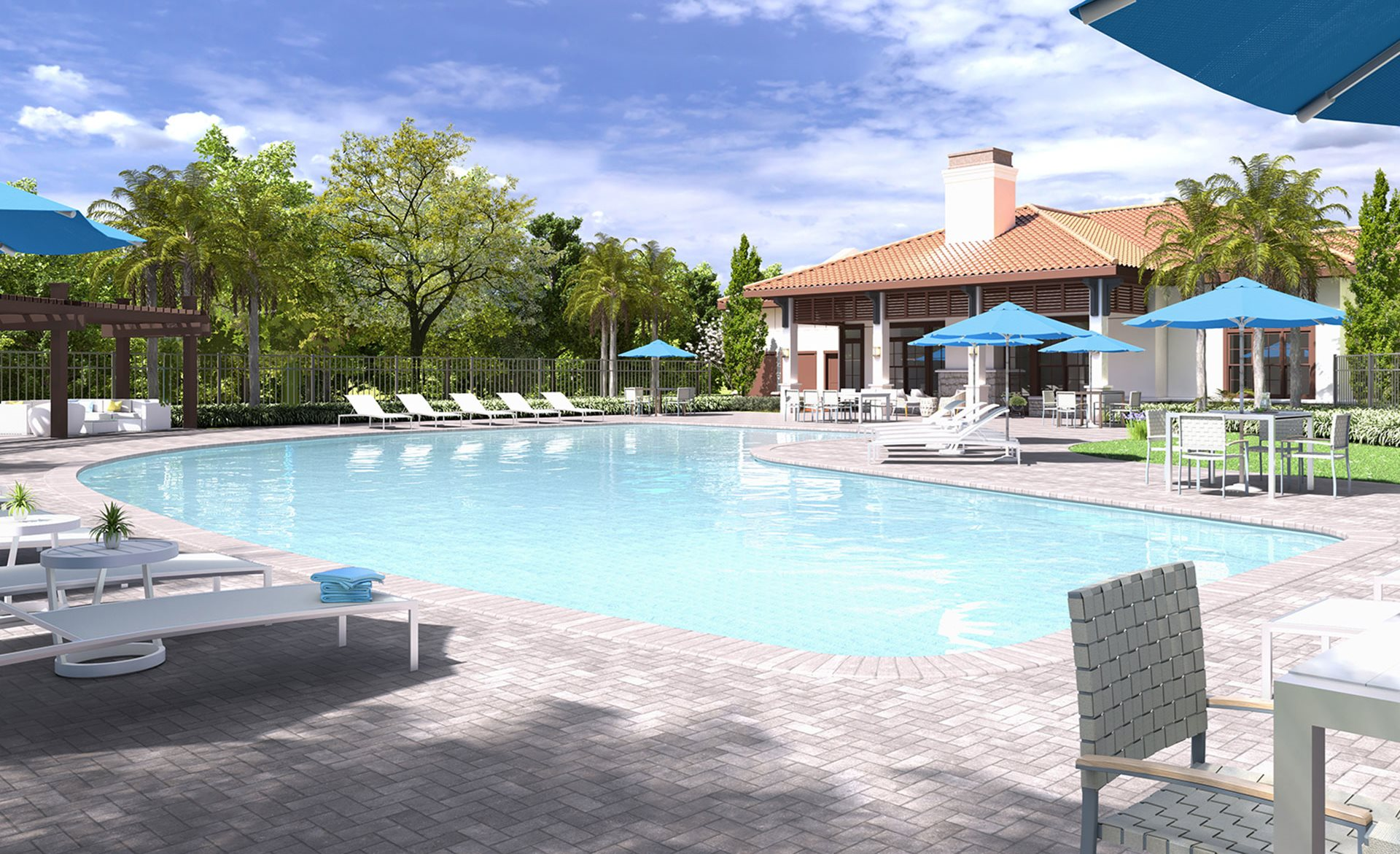Lounge swimming pool with Cabana at Ester Parc,
