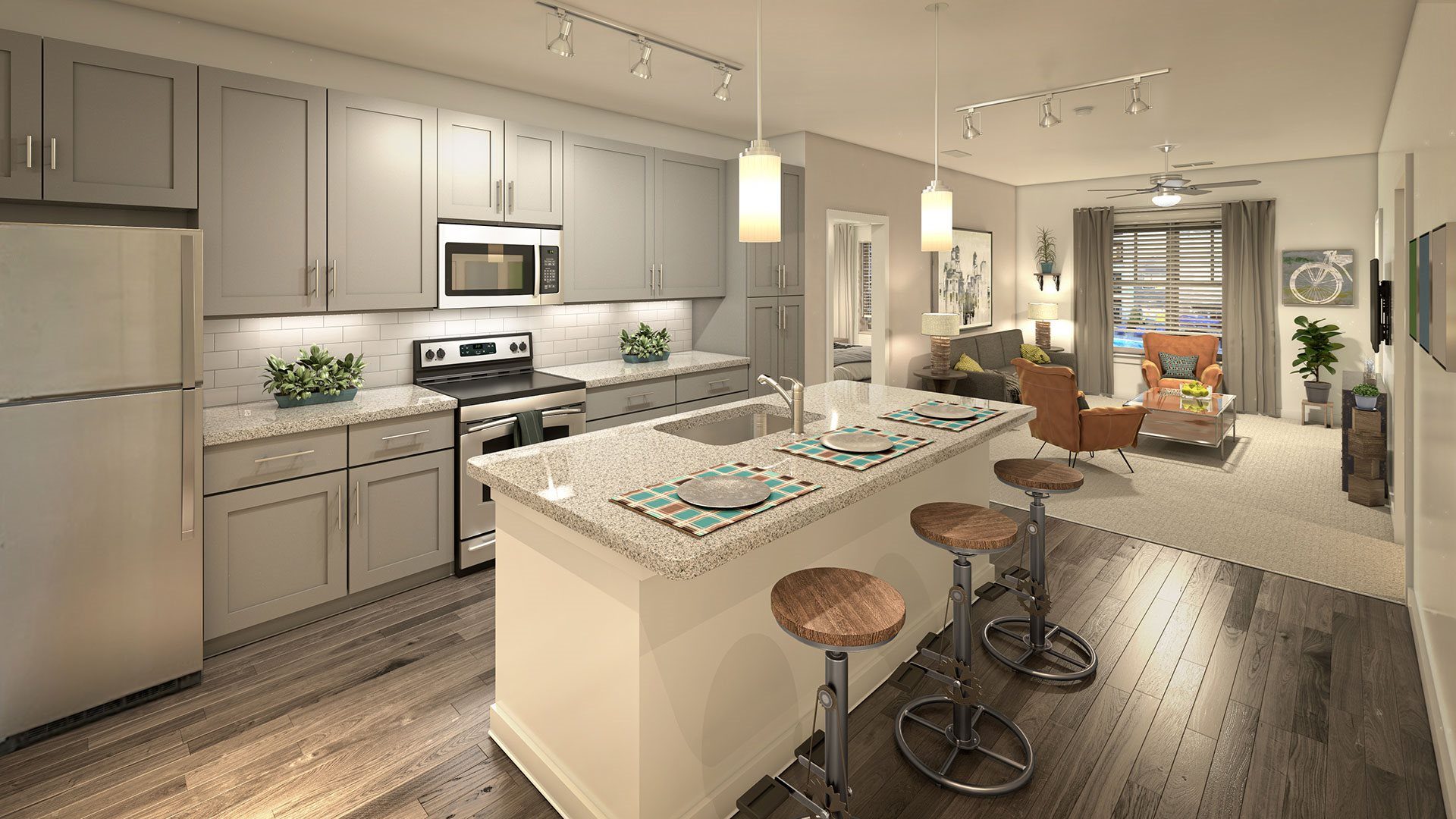 Fitted Kitchen With Island Dining at NorthPointe, South Carolina